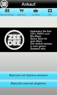ZeeDee Android App – Start Screenshot